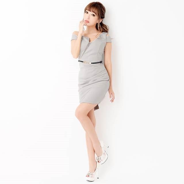 9/7UP[SMLサイズ]ベルト付ワンショルダー谷間見せタイトミニドレス[3サイズ展開]
