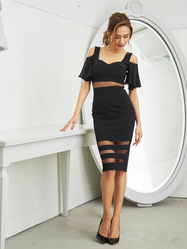 [SMLサイズ]肩出しフリルウエスト透けタイトドレス[3サイズ展開]