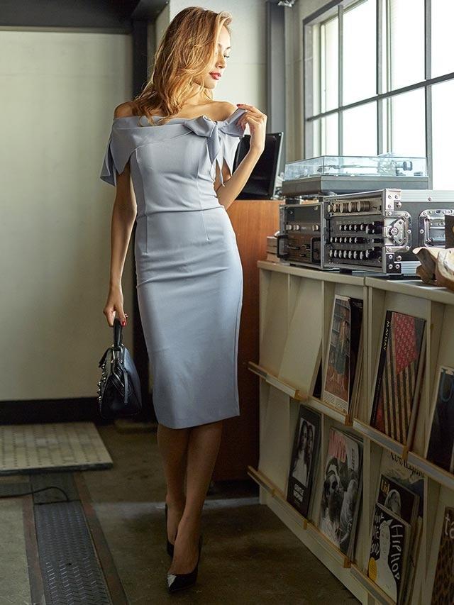 [SMLサイズ]リボンモチーフワンショルタイトドレス[3サイズ展開][送料無料]