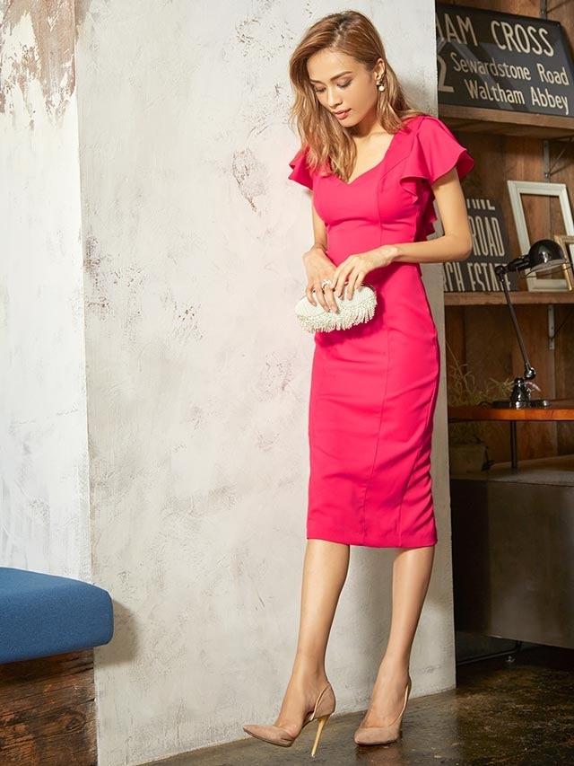 [SMLサイズ]ビビットカラーフリルスリーブタイトドレス[3サイズ展開][送料無料]
