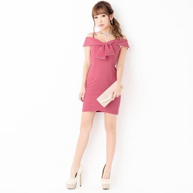 9/10UP[SMLサイズ]オフショルダーワンカラーラップ風ミニタイトドレス[3サイズ展開]