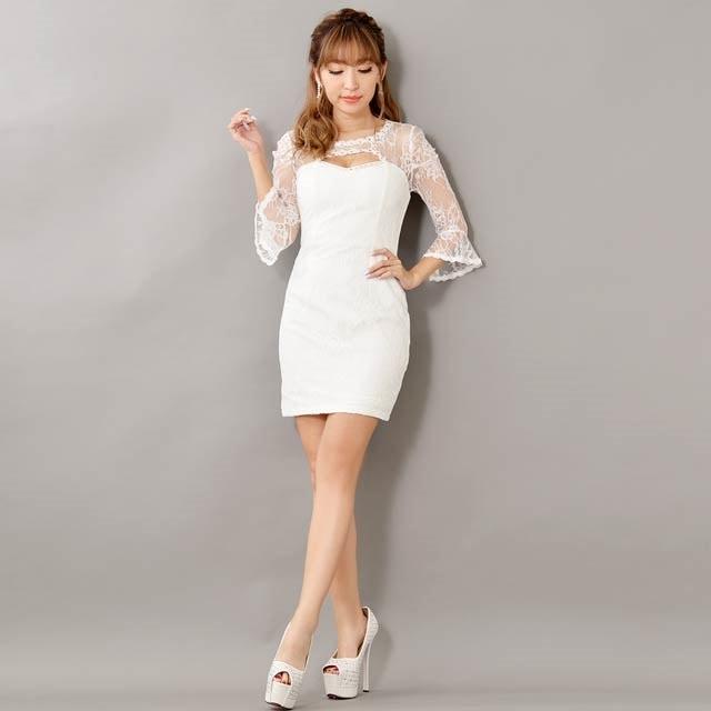 9/5UP[SMLサイズ]豪華ビジュー×パール付き5分袖ベルスリーブミニタイトドレス[3サイズ展開]