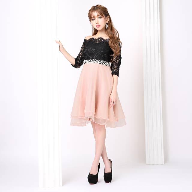 袖付きオフショルAラインひざ丈ドレス