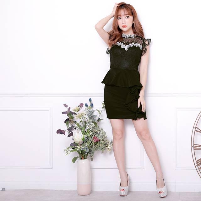 【価格改定】[SMLサイズ]シアーハイネックペプラムタイトミニドレス[3サイズ展開]