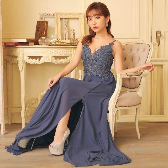 豪華刺繍レースキャミロングドレス