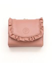 フリル三つ折り財布(淡ピンク-M)