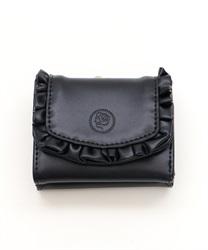 フリル三つ折り財布(黒-M)