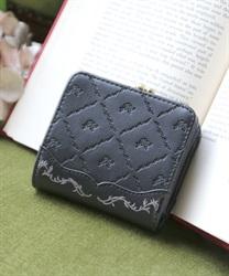型押しミニ財布(黒-M)