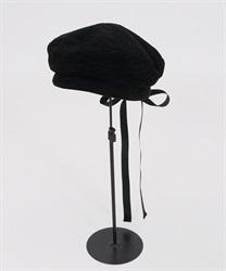 バックリボンベレー帽(黒-M)