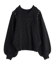 【OUTLET】【Web限定】透かし編みニット(黒-M)