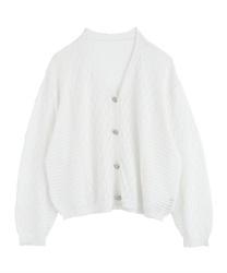 【OUTLET】透かし編みゆったりカーディガン(白-M)