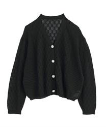 【OUTLET】透かし編みゆったりカーディガン(黒-M)