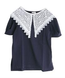 【2点3000円対象 /WEB限定】レース襟setTシャツ(紺-M)