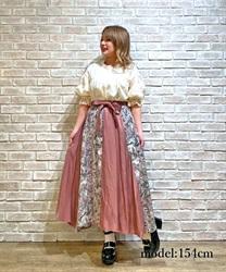 無地×花柄切替スカート