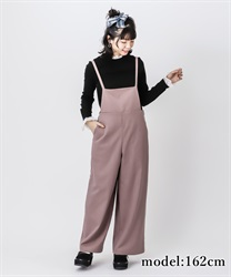 【OUTLET】【GWフェア/2点10%OFF対象】ストライプワイドサロペット(濃ピンク-M)