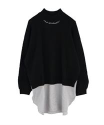 【2点3000円対象 /WEB限定】後ろリボンレイヤード風チュニ(黒-M)