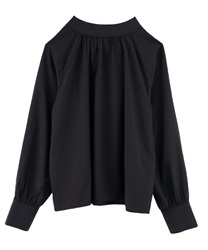 【OUTLET】【Web限定】バックリボンハイネックブラウス(黒-M)
