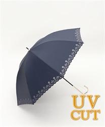 フラワーカット晴雨兼用傘(紺-M)