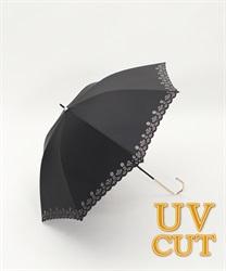 フラワーカット晴雨兼用傘(黒-M)