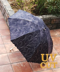 チューリップ刺繍晴雨兼用傘(紺-M)