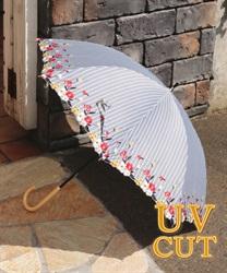 ストライプフラワー刺繍晴雨傘