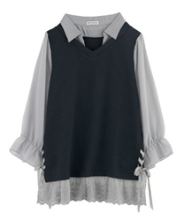 【OUTLET】【Web限定】シャツレイヤードプルオーバー(紺-M)