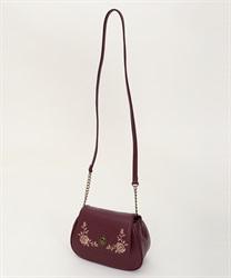 バラ刺繍ラウンドショルダー(ワイン-M)
