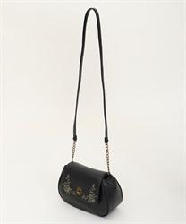 バラ刺繍ラウンドショルダー(黒-M)