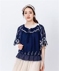 【OUTLET】袖刺繍シフォンプルオーバー