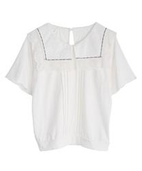 【2点10%OFF対象】ビッグ襟Tシャツ(生成り-M)