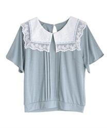 【2点10%OFF対象】ビッグ襟Tシャツ(ブルー-M)