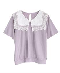 【2点10%OFF対象】ビッグ襟Tシャツ(ラベンダー-M)