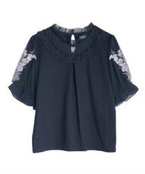 ラベンダー刺繍プルオーバー(紺-M)