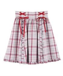 【OUTLET】フリルレースアップスカート(サックス-M)