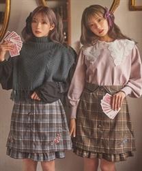 【10%OFF対象】サス付刺繍チェックミニスカート