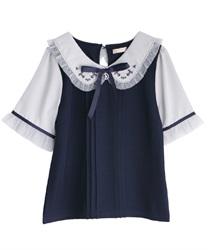 星刺繍ブラウス風カットプルオーバー(紺-M)
