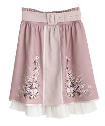 パネル花柄バイカラースカート(淡ピンク-M)
