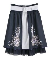 パネル花柄バイカラースカート(紺-M)