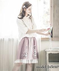 パネル花柄バイカラースカート