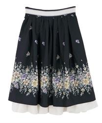 【web価格/15H限定】フラワープリントフレアスカート(紺-M)