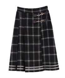【OUTLET】シャギーチェックスカート(紺-M)