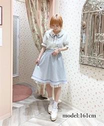 チューリップブーケ刺繍スカート