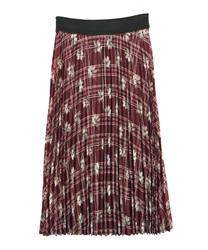 【OUTLET】【Web価格】チェック花柄プリーツスカート