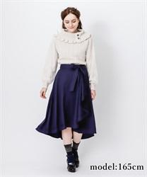 【OUTLET】リボン付フリルスカート(紺-M)