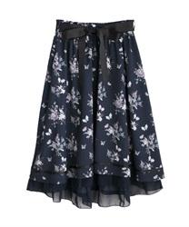 □【GWフェア/10%OFF対象】パピヨンフルールプリントスカート【Web限定商品】(紺-M)