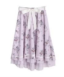 □【GWフェア/10%OFF対象】パピヨンフルールプリントスカート【Web限定商品】(ピンク-M)