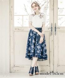 【二次予約】パピヨンフルールプリントスカート【Web限定商品】