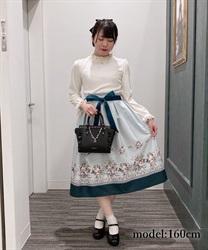 ローズブーケ柄ミディスカート