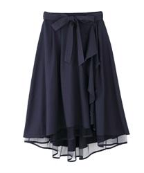 パイピングチュールフリルスカート(紺-M)