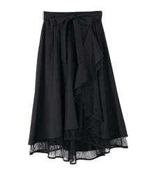 パイピングチュールフリルスカート(黒-M)
